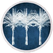 Indigo And White Palm Trees- Art By Linda Woods Round Beach Towel
