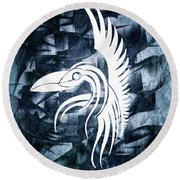 Indigo Bird Flight Contemporary Round Beach Towel