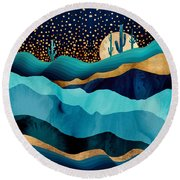 Indigo Desert Night Round Beach Towel