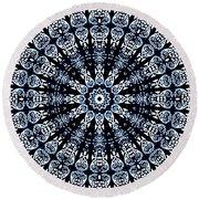 Indigo Flow Blue Kaleidoscope Round Beach Towel