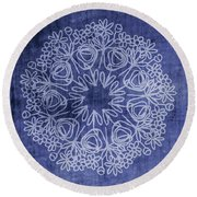Indigo Mandala 1- Art By Linda Woods Round Beach Towel