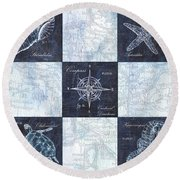 Indigo Nautical Collage Round Beach Towel