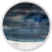 Indigo Winter Night Round Beach Towel