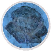 Indistincint Blues Round Beach Towel