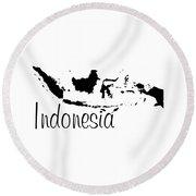 Indonesia In Black Round Beach Towel