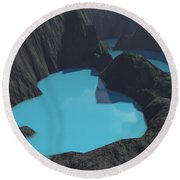 Indonesian Crater Lakes Round Beach Towel
