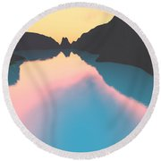 Indonesian Crater Lakes II Round Beach Towel