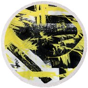Industrial Abstract Painting I Round Beach Towel