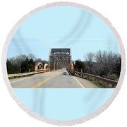 Industrial Bridge Over The Red River Round Beach Towel