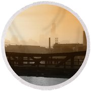 Industrial Foggy Chicago Skyline Round Beach Towel