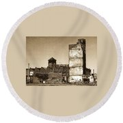 Industrial Decay Sepia 1 Round Beach Towel