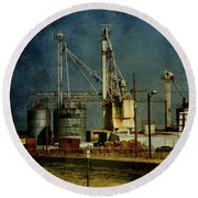 Industrial Farming In Texas Round Beach Towel