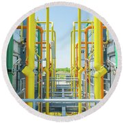 Industrial Piping Round Beach Towel