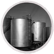Industrial Storage Tanks Round Beach Towel