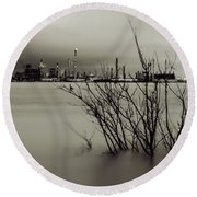 Industry On The Mississippi River, In Monochrome Round Beach Towel