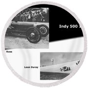 Indy 500 1928 Sam Ross And Leon Duray Round Beach Towel