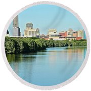 Indy White River View Round Beach Towel