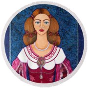 Ines De Castro - The Love Crowned Round Beach Towel
