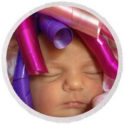 Infant With Ribbon Curls Round Beach Towel