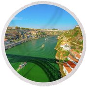 Infante Bridge Oporto Round Beach Towel