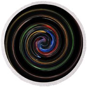 Infinite, Ever Expanding Image. Colorful And Classic Spiral Digital Art That Can Enhance Your Mood. Round Beach Towel