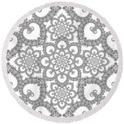 Infinite Lily In Black And White Round Beach Towel