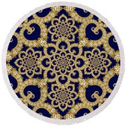 Infinite Lily In Navy Round Beach Towel