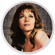 Ingrid Pitt, Vintage Actress Round Beach Towel