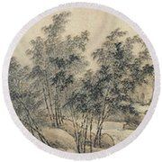 Ink Painting Landscape Bamboo Forest Rivers Round Beach Towel