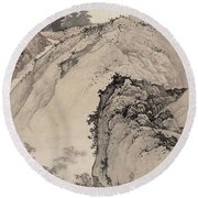 Ink Painting Landscape House Round Beach Towel
