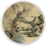 Ink Painting Landscape River Round Beach Towel