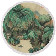 Ink Painting Mountain Thatched Cottage Round Beach Towel