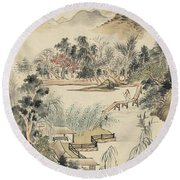 Ink Painting Mountain Wooden Bridge Round Beach Towel