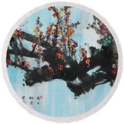 Ink Painting Plum Blossom Blue Round Beach Towel