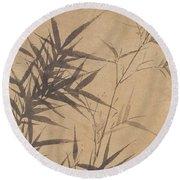 Ink Painting Stone Bamboo Round Beach Towel