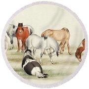 Ink Painting Stud Of Horses Round Beach Towel