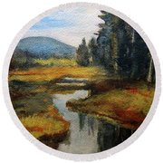 Inlet In Indian Lake Round Beach Towel