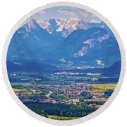 Inn River Valley And Kaiser Mountains View Round Beach Towel