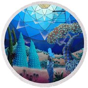 Inner Space-art On A Wall.  Round Beach Towel