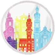 Innsbruck Skyline Pop Round Beach Towel