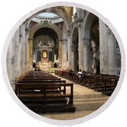 Inside Beautiful Church In Rome Round Beach Towel