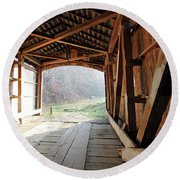 Inside Big Rocky Fork Bridge Round Beach Towel