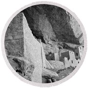 Inside Cliff Palace #2 Round Beach Towel