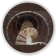 Inside Looking Up - Matagorda Island Lighthouse Round Beach Towel