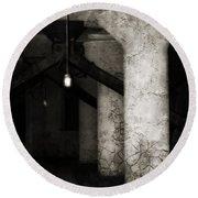 Inside Empty Dark Building With Light Bulbs Lit Round Beach Towel
