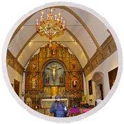 Inside Sanctuary At Carmel Mission-california  Round Beach Towel