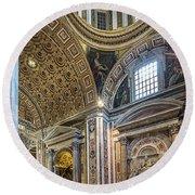 Inside St Peter's Basilica Rome Round Beach Towel