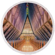 Inside The Cadet Chapel Round Beach Towel