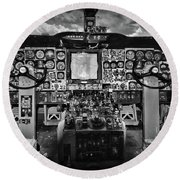 Inside The Cockpit Black And White Round Beach Towel