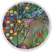 Inside The Garden Wall Round Beach Towel
